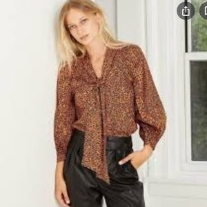 Who What Wear Baby Leopard Print Blouse Size M